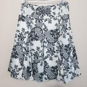 Apt. 9 Black and White Floral Flare Skirt